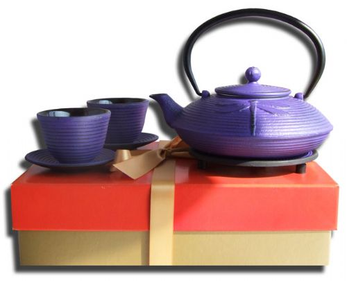 Gift Set – Zen cups Trivet & Cast Iron Purple Dragonfly Tetsubin teapot kettle 0.8 litre